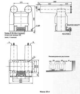 Габаритные и установочные размеры НИОЛ-10-П